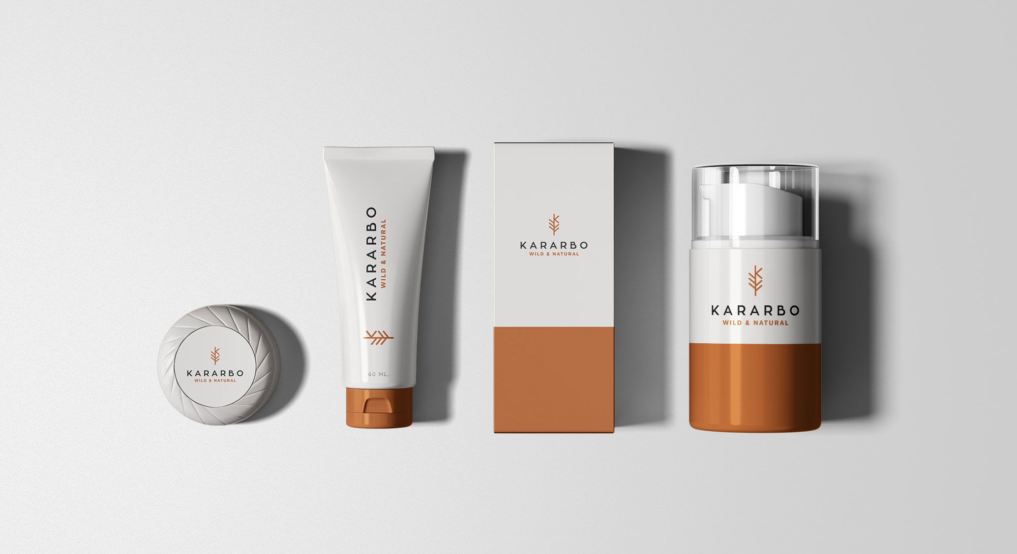 Kararbo cosmetics with branding elements